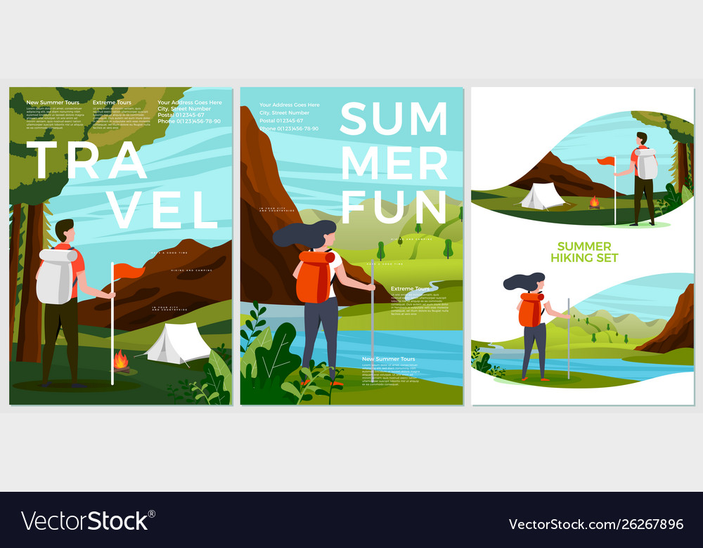 Summer posters set - tourist people