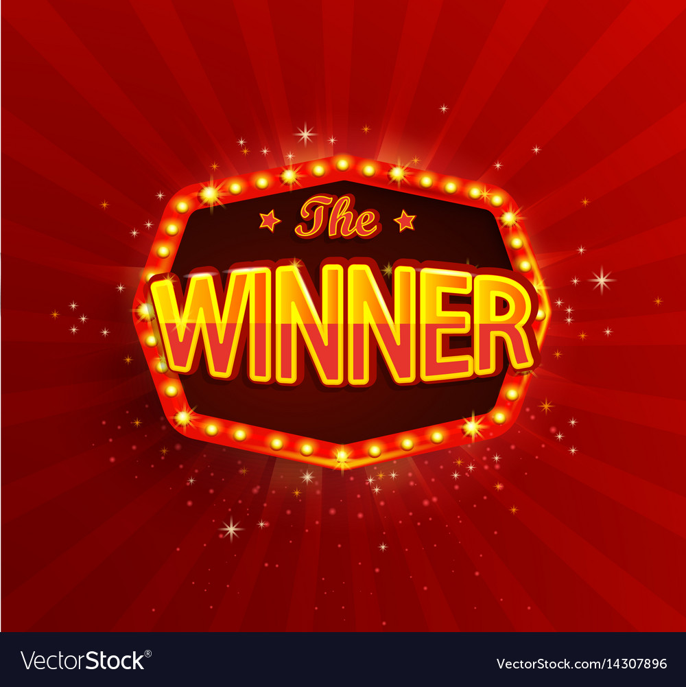 the winner banner with glowing lamps on red vector image