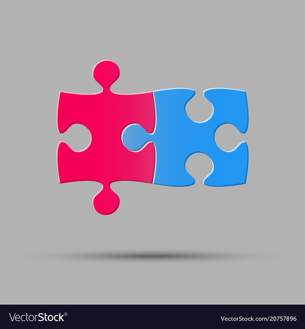 Two piece puzzle 2 step puzzle object puzzle vector image