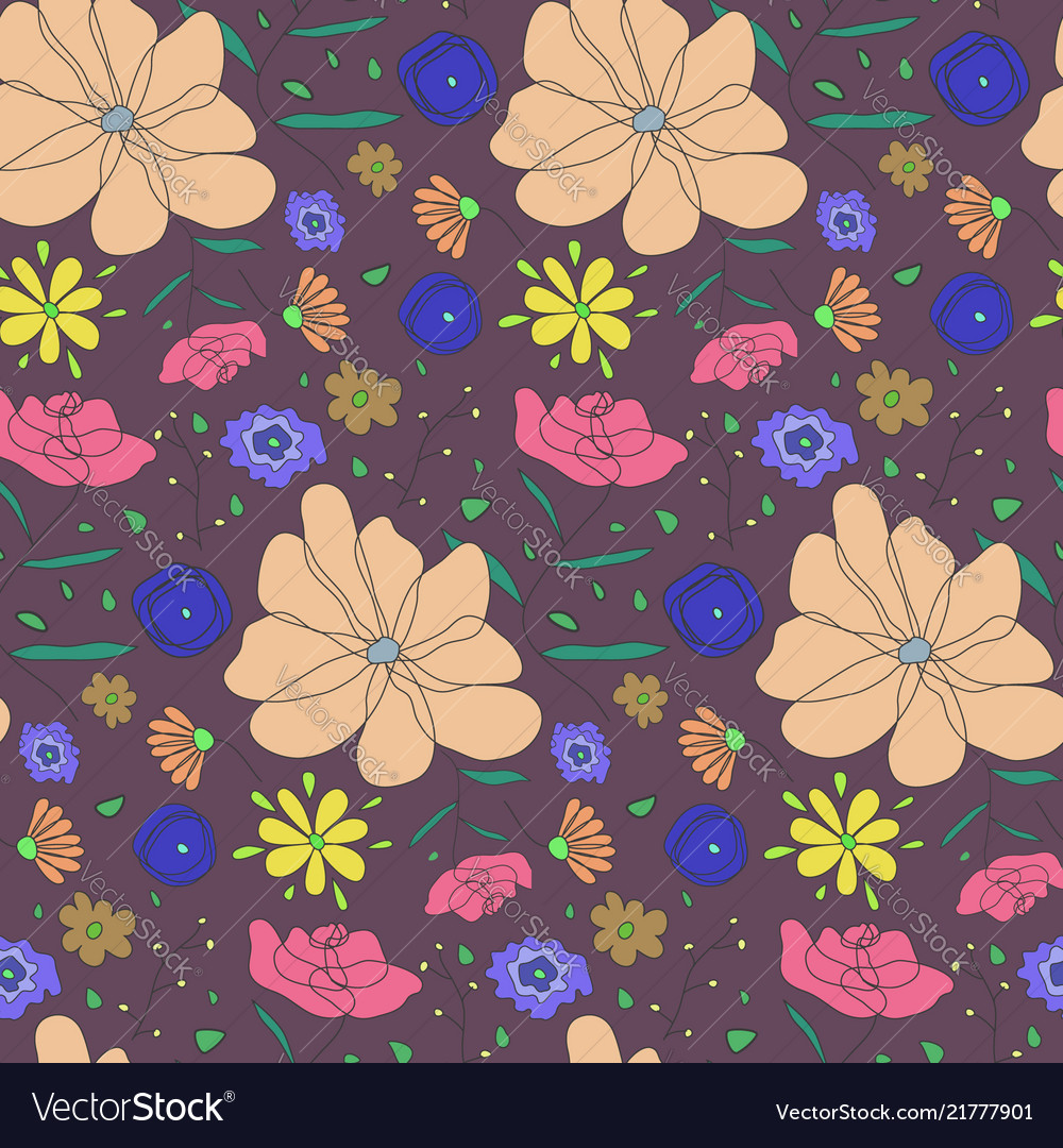 Autumn colors pattern with sketch color flowers