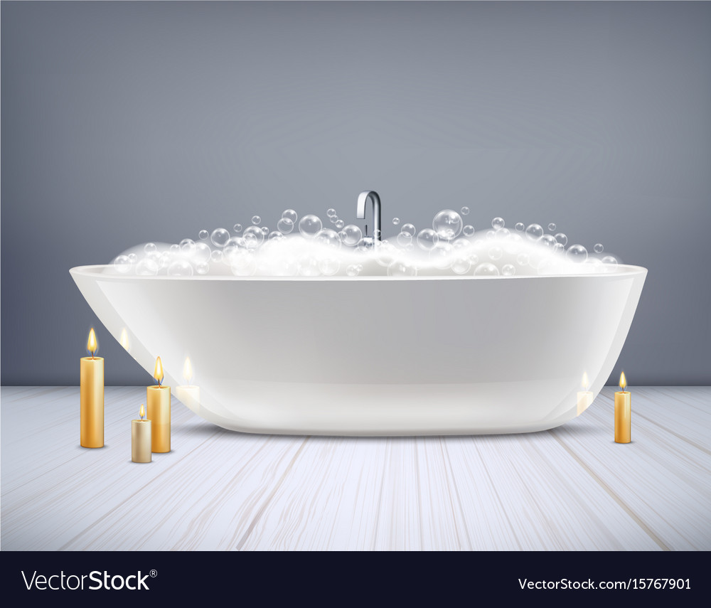 Bathtub with foam 3d Royalty Free Vector Image