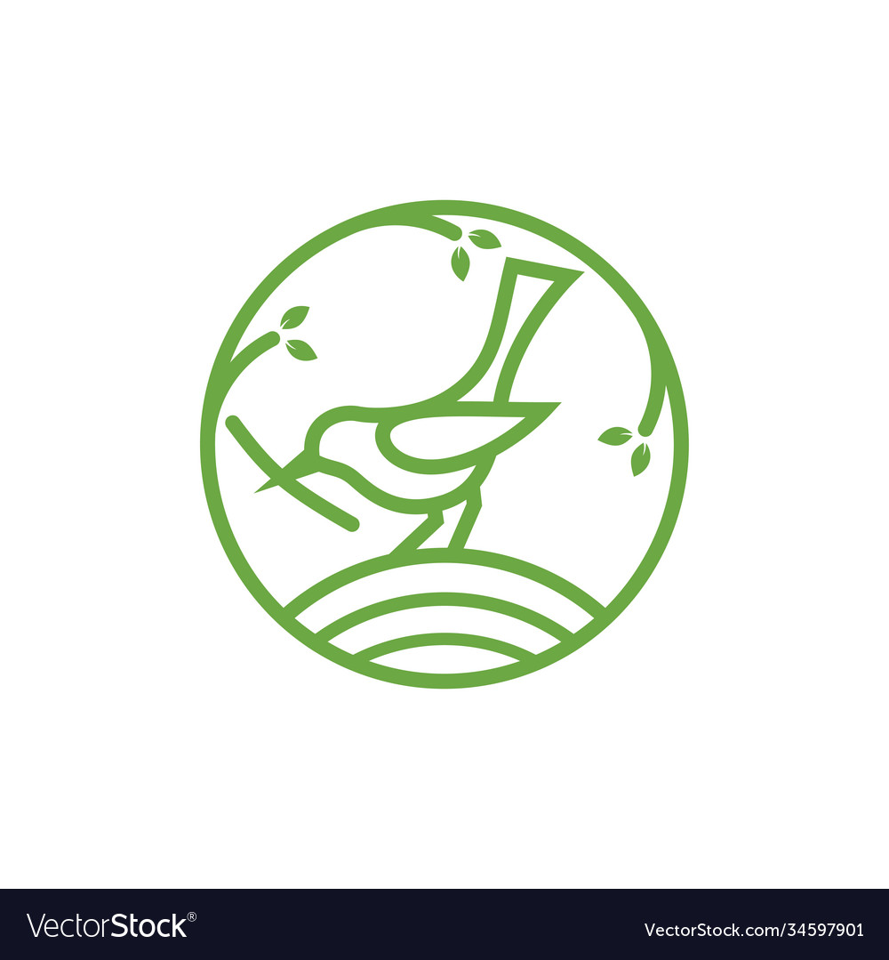Bird line icon design template isolated