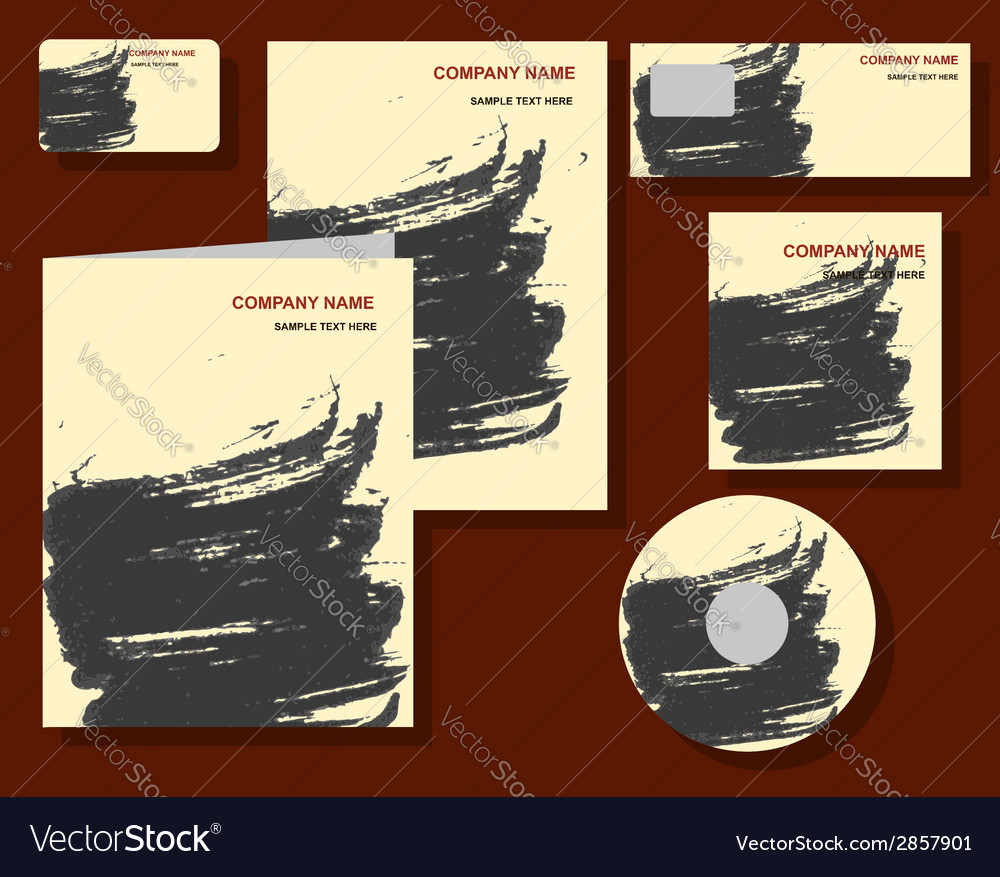 Corporate identity calligraphy ink stains vector image