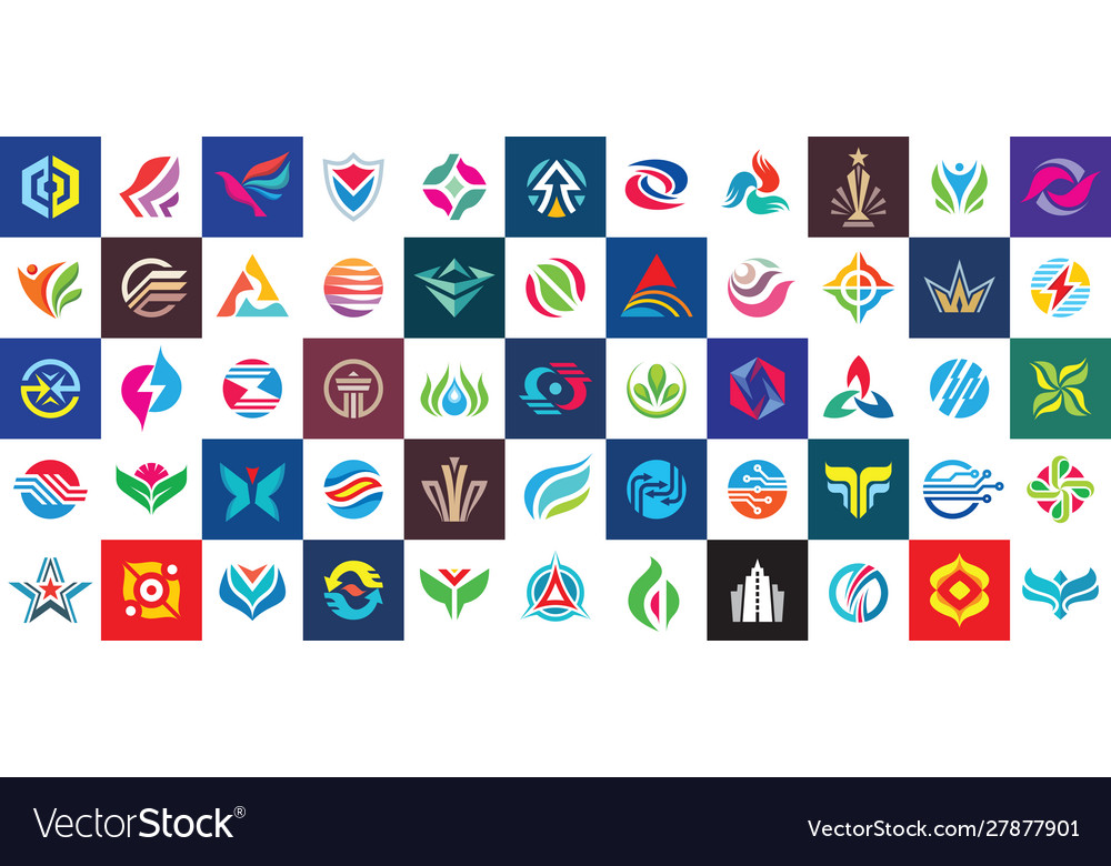 Logo set design abstract business modern icons