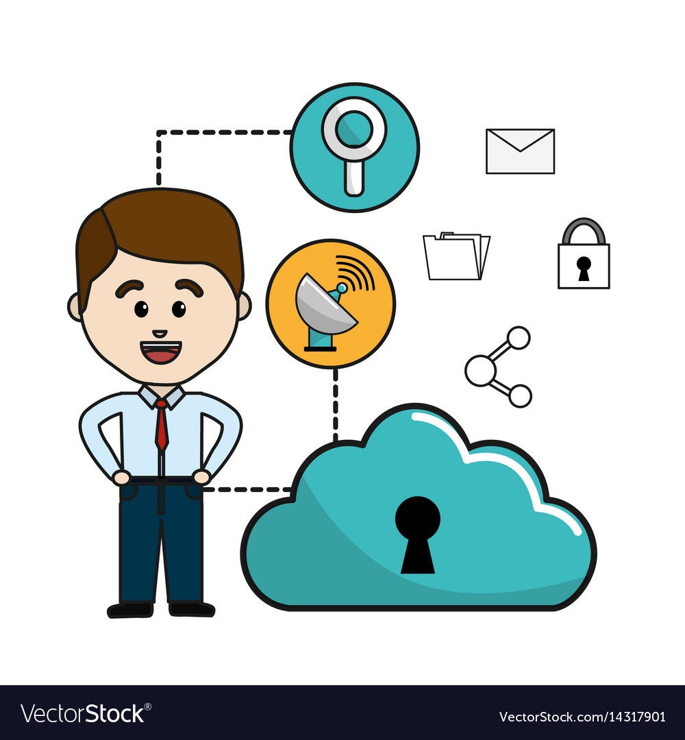 Man with cloud data wifi and technology icons