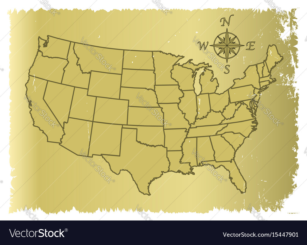 America Map With Compass.Old United States Of America Map Royalty Free Vector Image