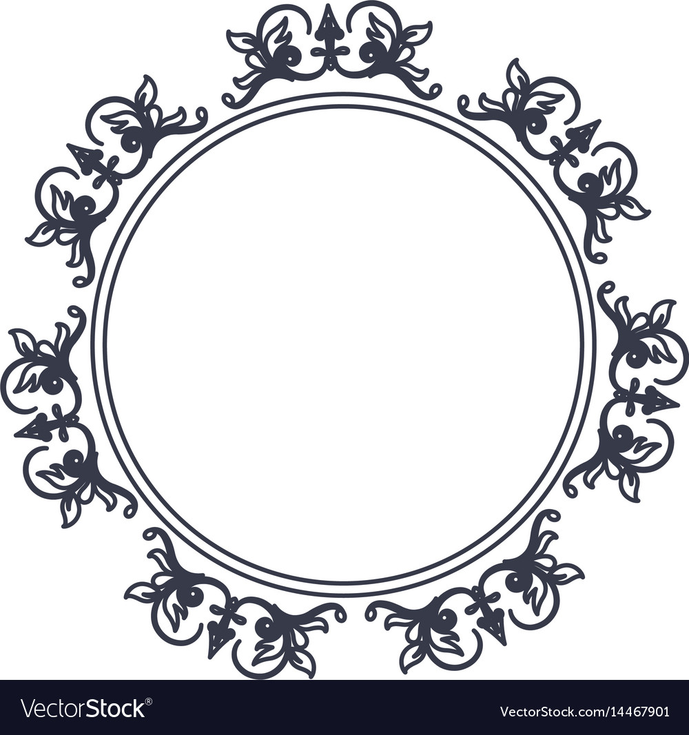 Round decorative frame flourish calligraphy