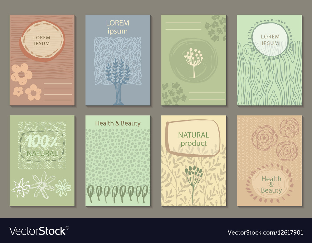 Set of eco nature labels or business card vector image reheart Image collections