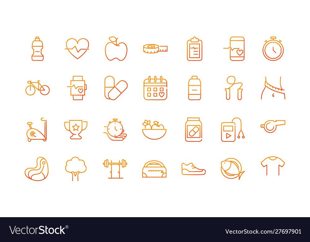 Sport gym fitness icons set gradient line