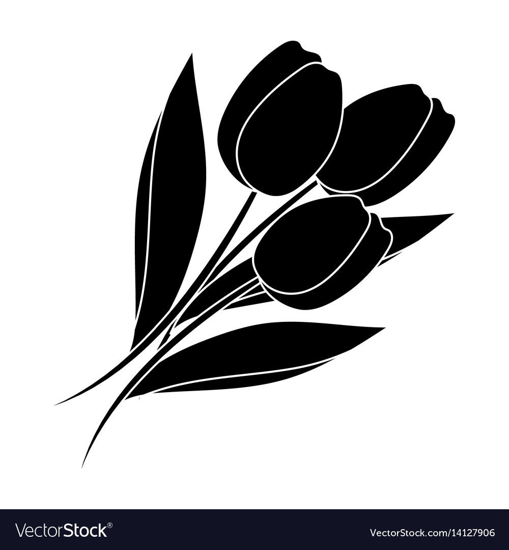 Bouquet of red tulips easter single icon in black