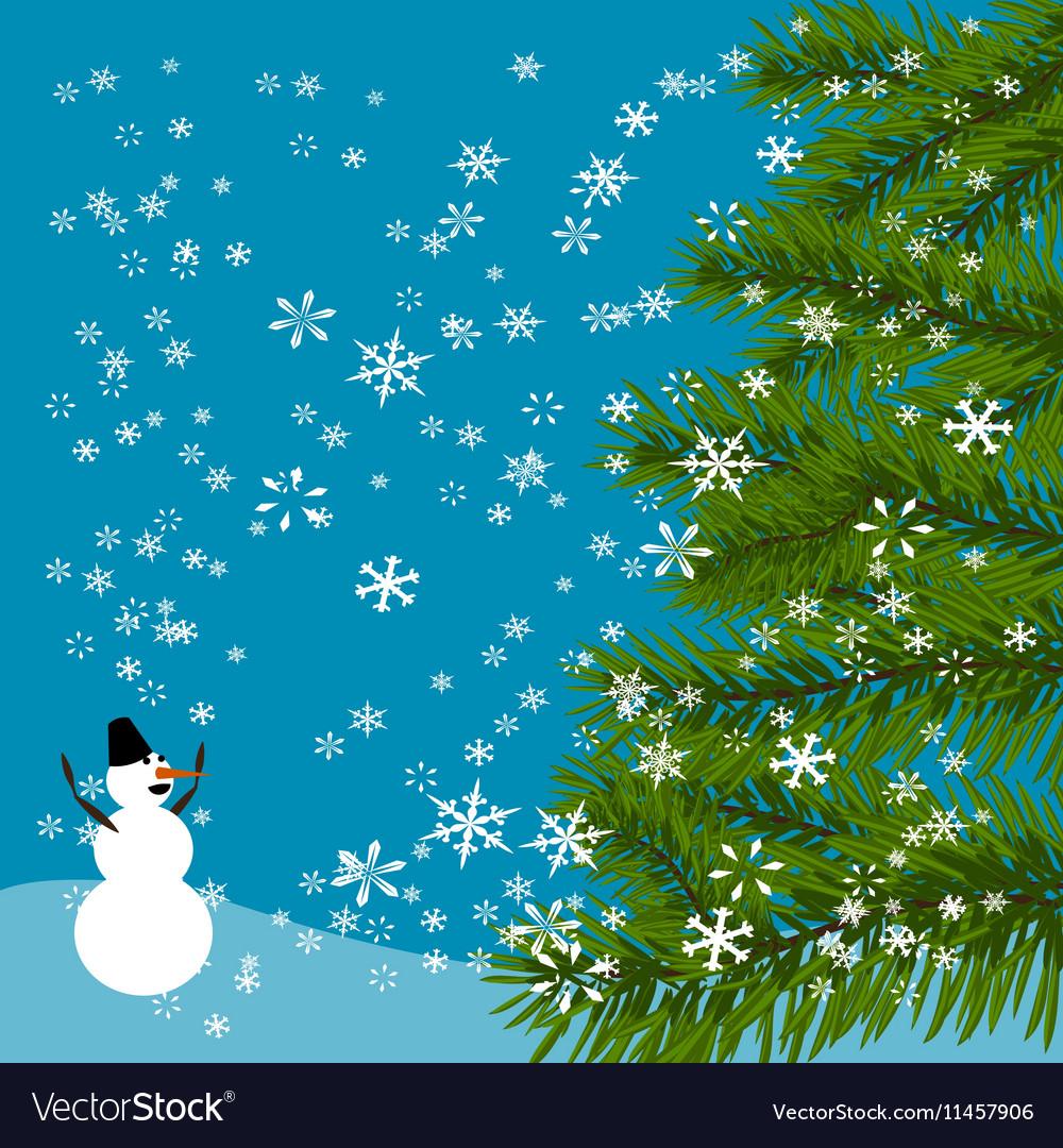 Christmas New Year s card Green tree Cheerful