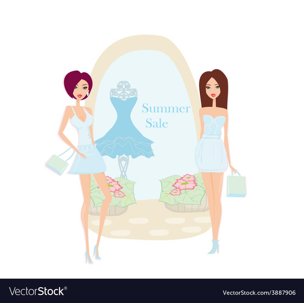 248283a2d Fashion girls Shopping - Summer shopping sale Vector Image