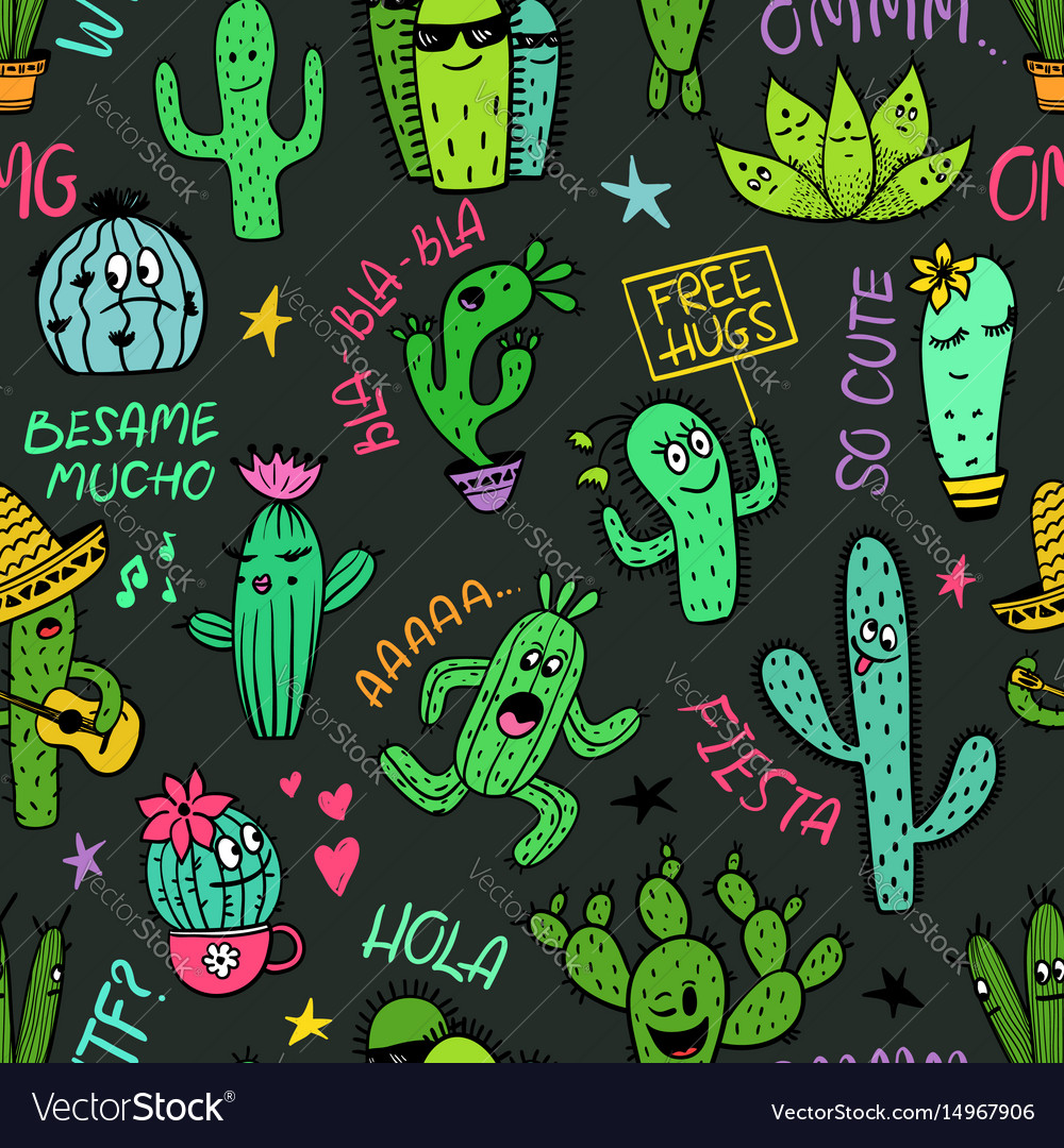 Funny seamless pattern of cactus characters