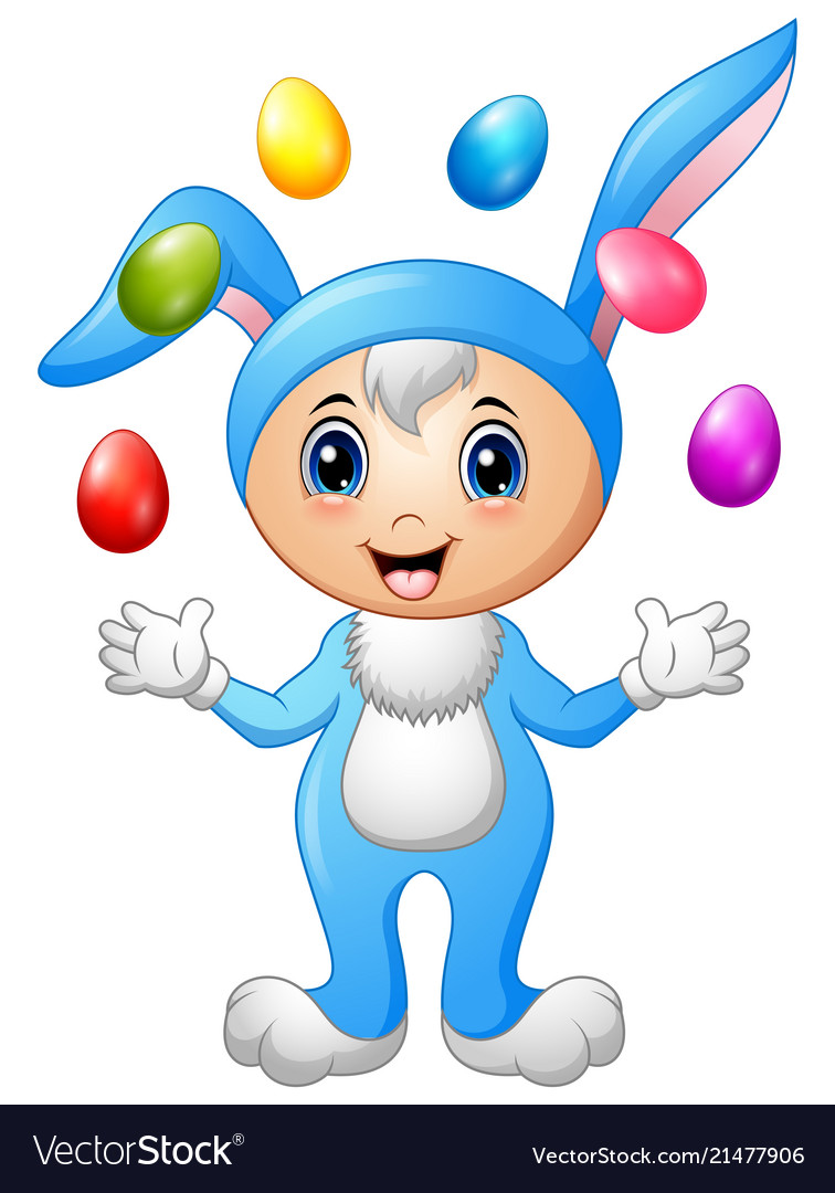 Kids in rabbit costume with easter eggs flying