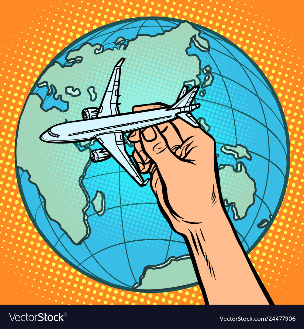 Plane in hand metaphor of flight to the eastern