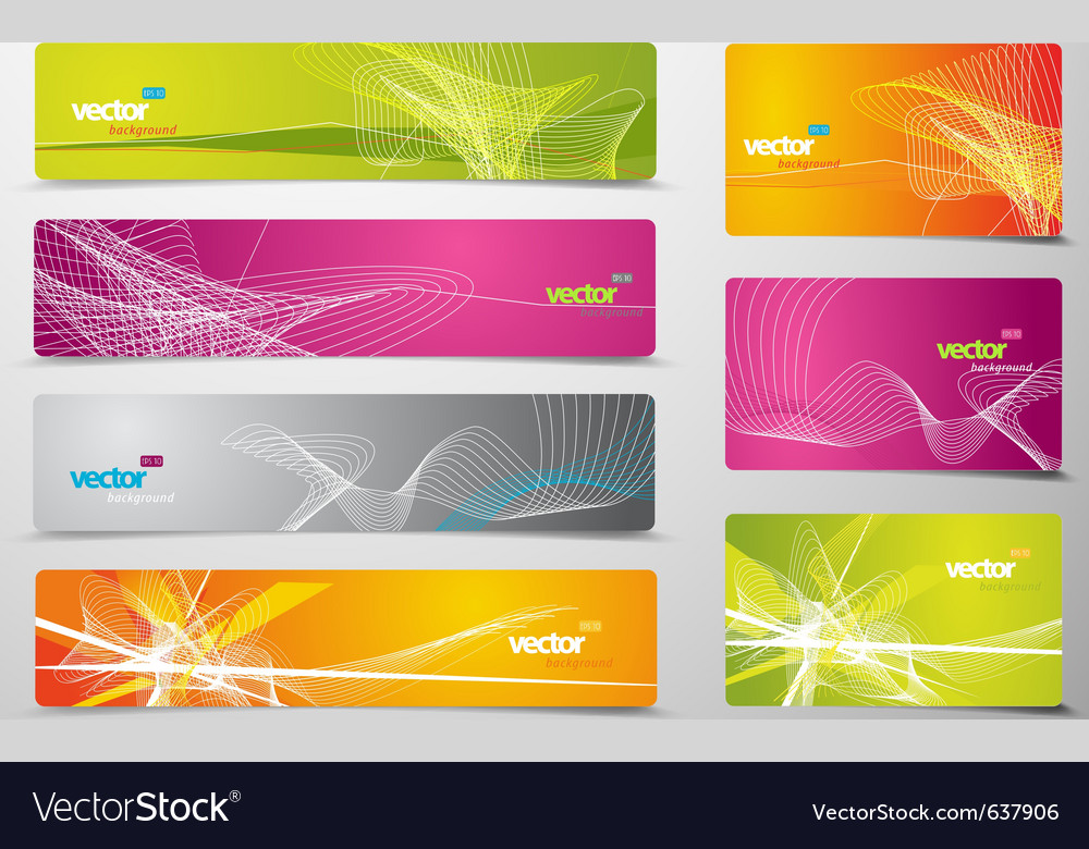 Set of abstract colorful web headers and gift card vector image