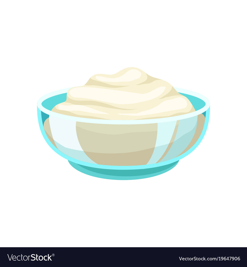 Sour cream in a glass bowl dairy product cartoon vector image
