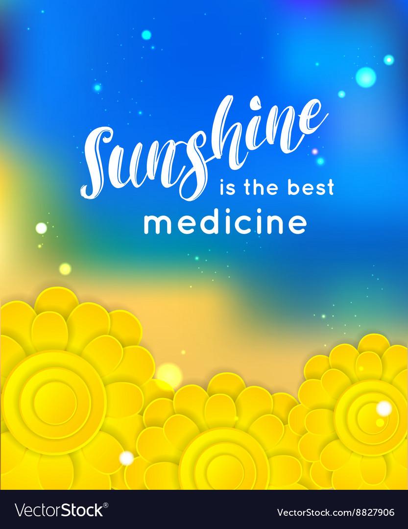 Sunshine is the best medicine Summer background vector image