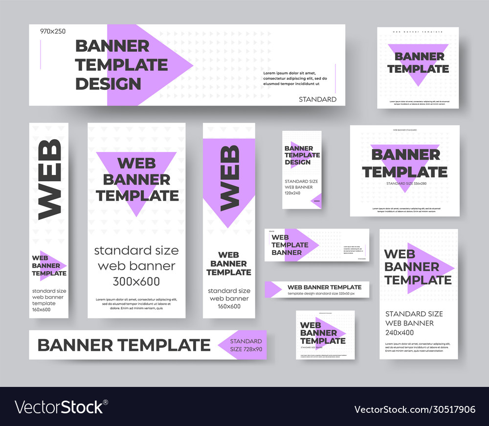 Template geometric web banners with purple and