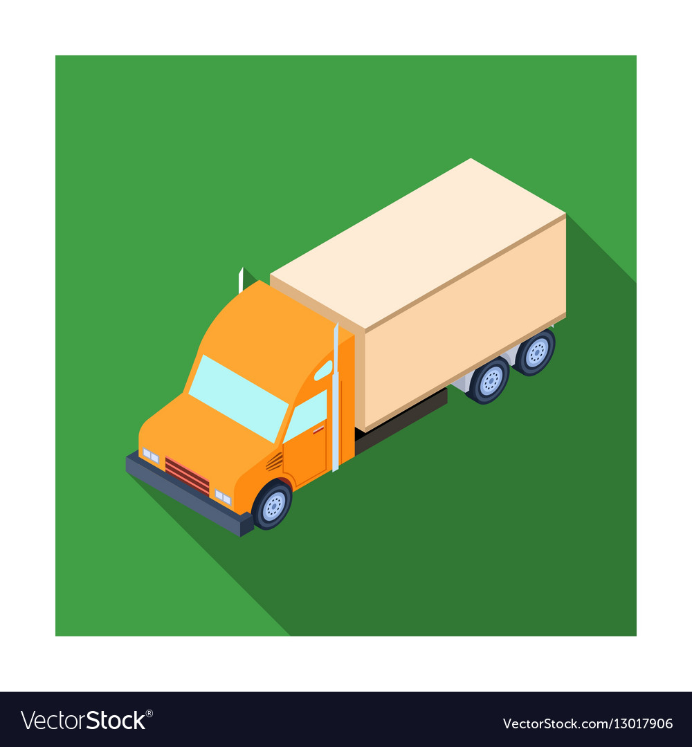 Truck icon in flat style isolated on white