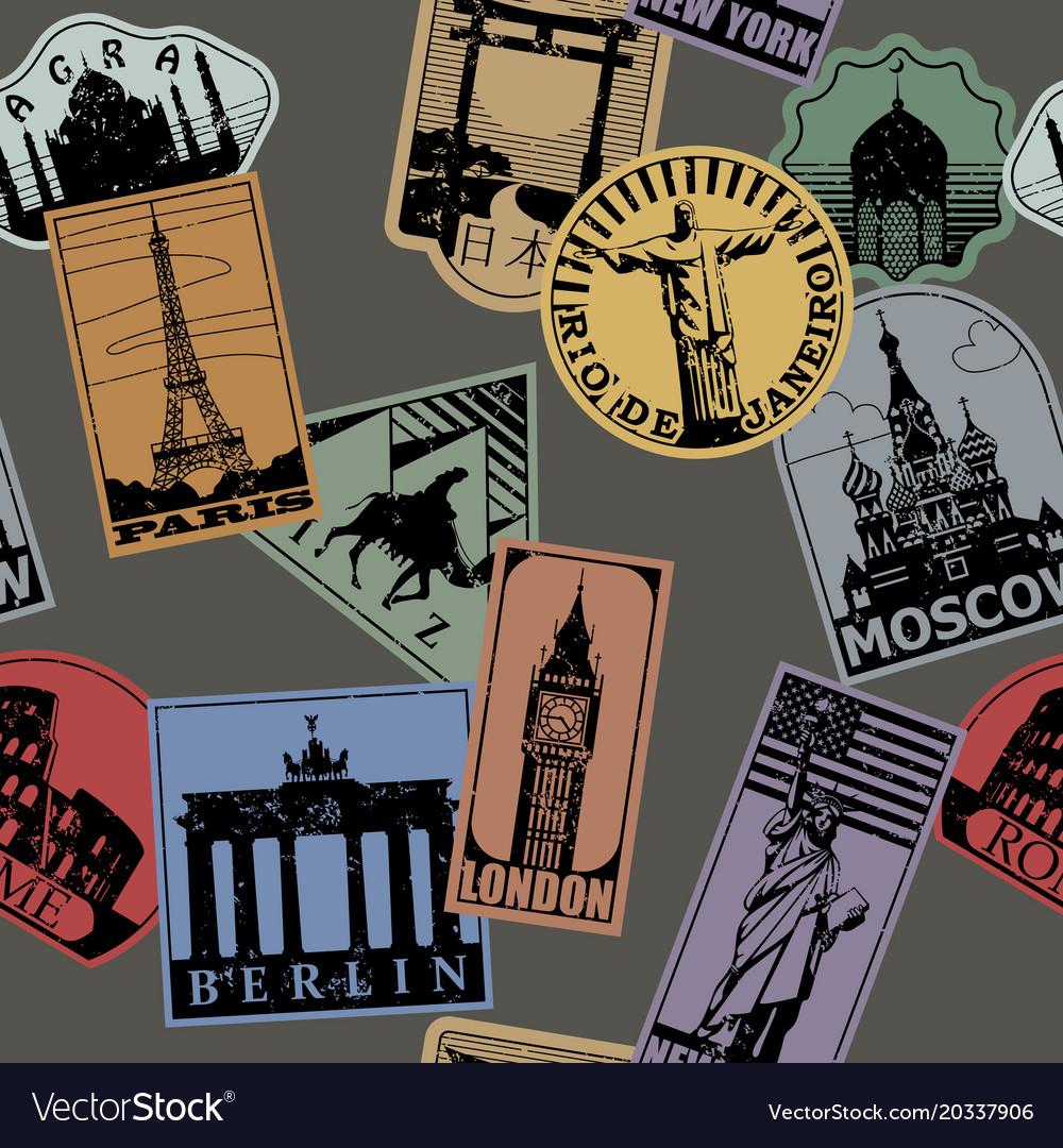 Vintage paper color landmarks travel labels