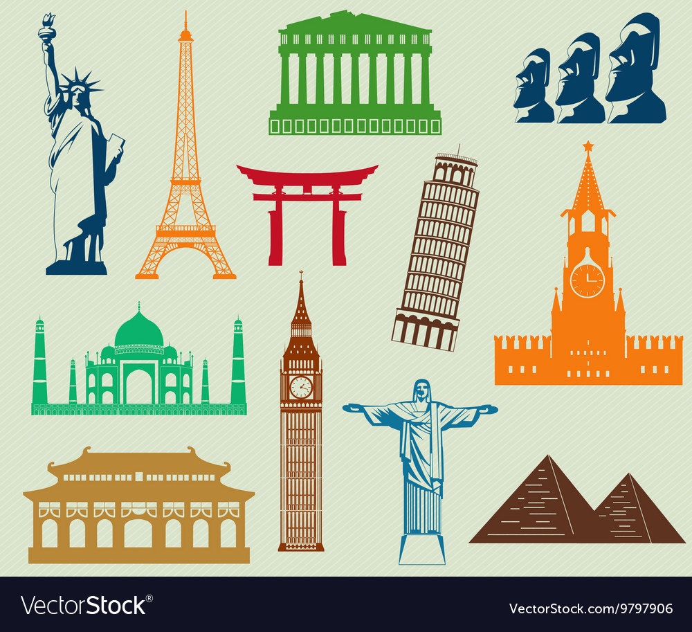 World landmarks silhouettes elements set