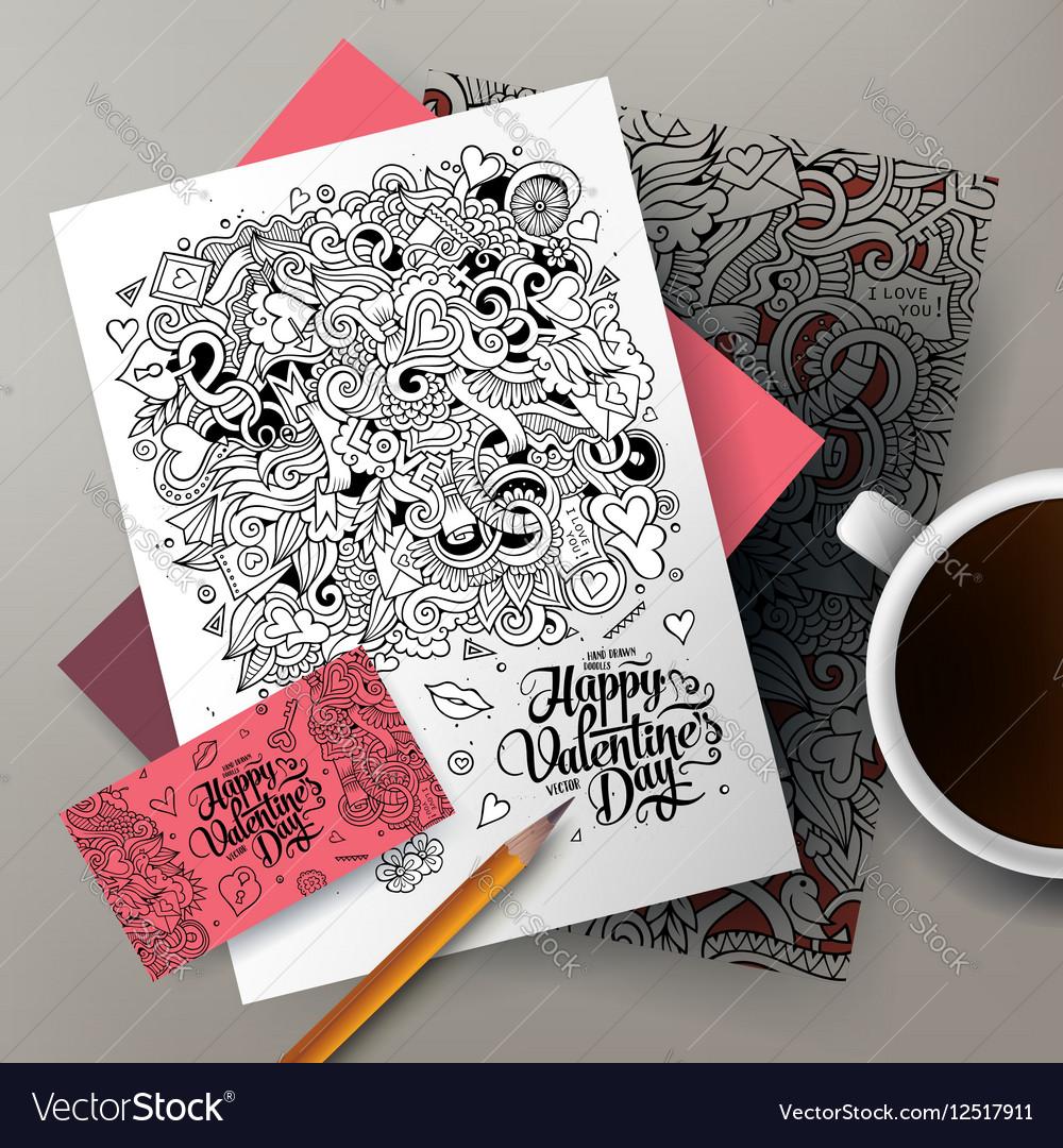 Cartoon cute colorful hand drawn doodles