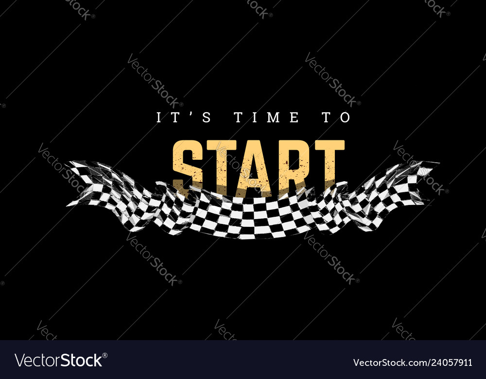 Checkered flag with the word start t-shirt design