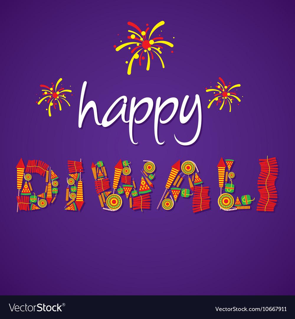 Creative Happy Diwali Greeting Design By Cracker Vector Image