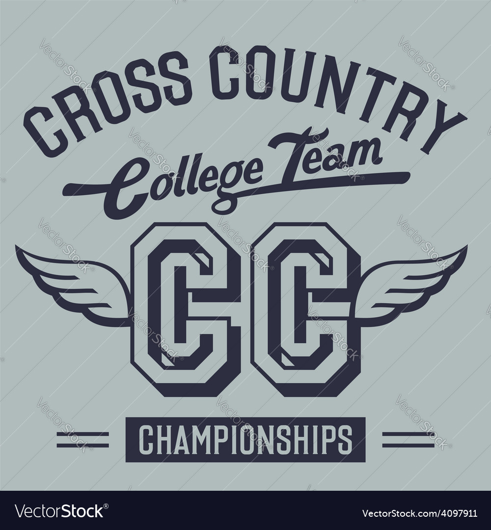 Cross Country Shirt Designs | Cross Country College Team T Shirt Design Vector Image