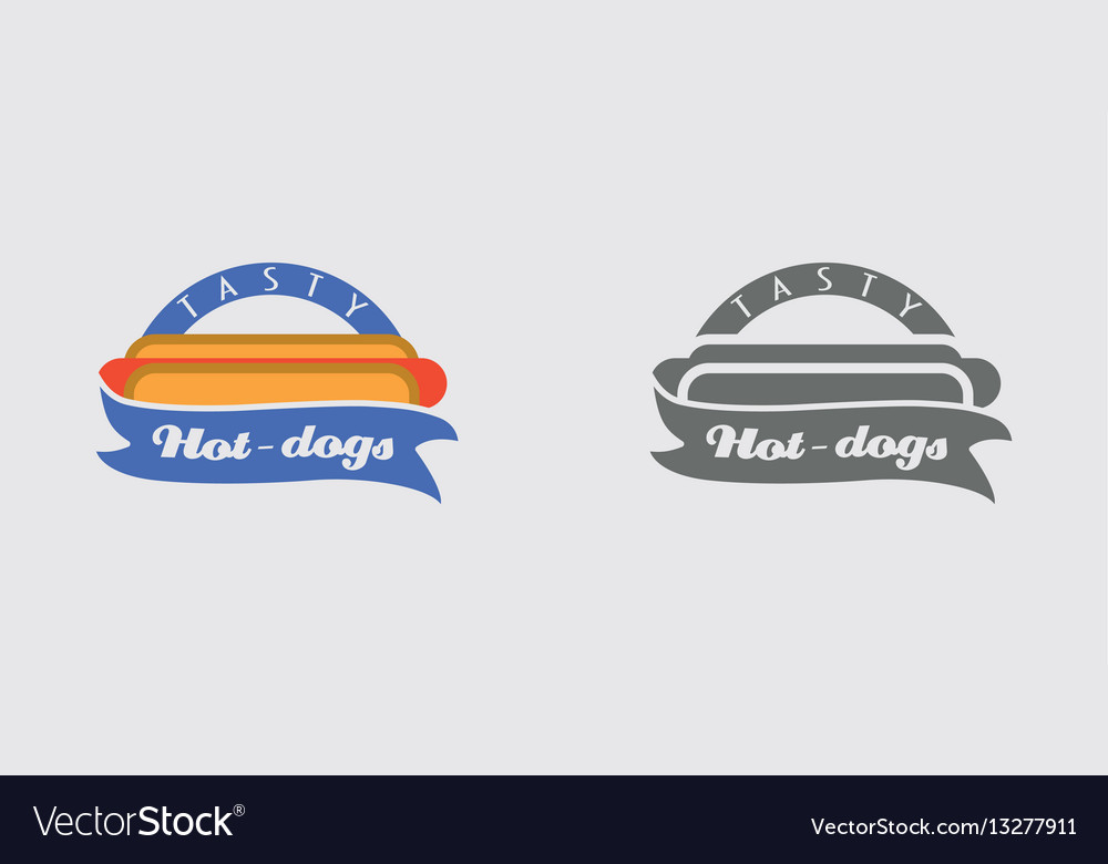 Hotdog badge labels logos or icons design vector image