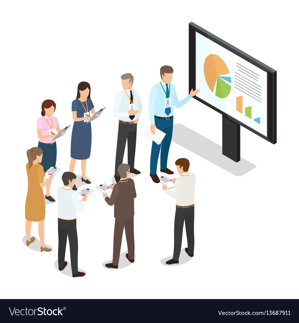 Managers with folders standing and writing notes vector image