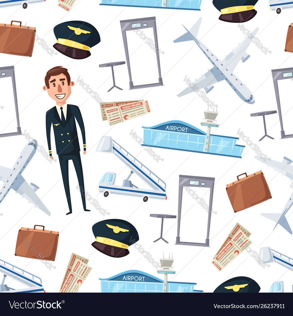 Pilot airline plane airport seamless pattern