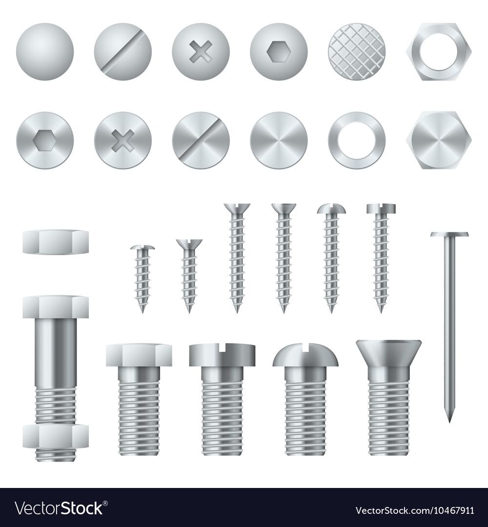 Screws bolts nuts nails and rivets realistic vector image