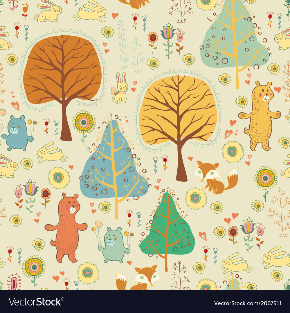 Seamless pattern in childish cartoon style