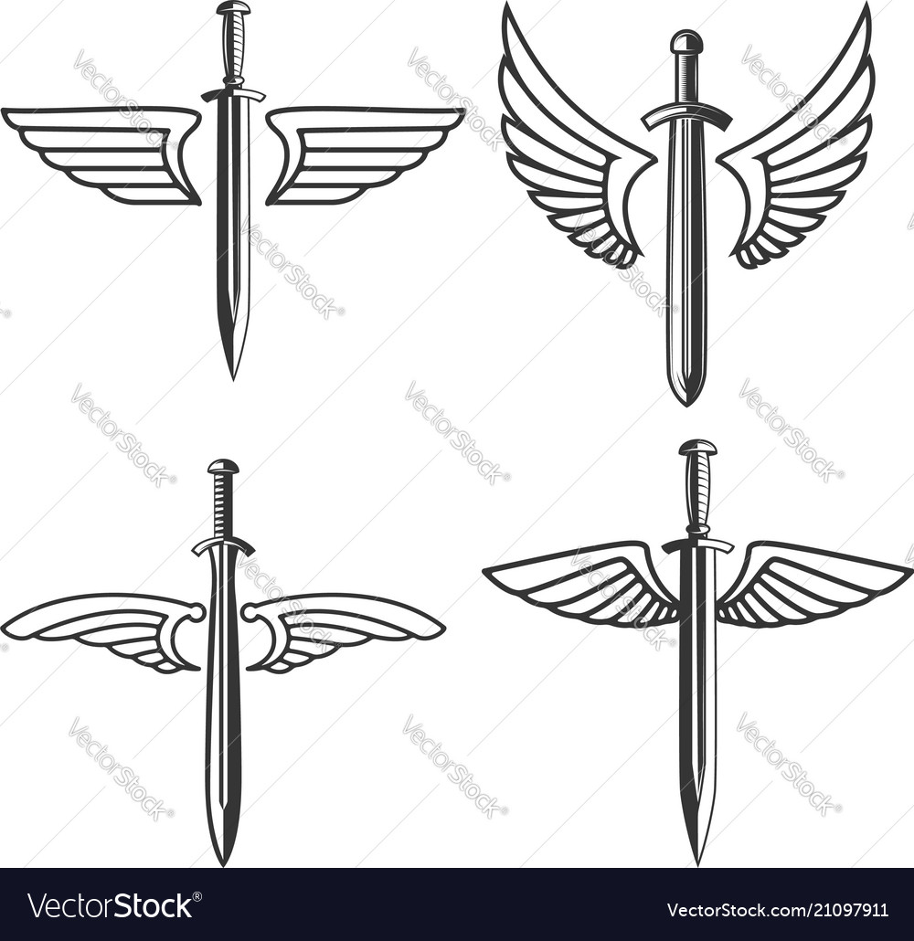 Set emblems with medieval sword and wings
