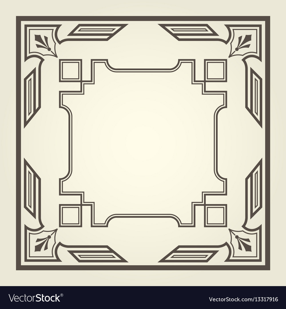 Art deco style square frame with stright lines vector image