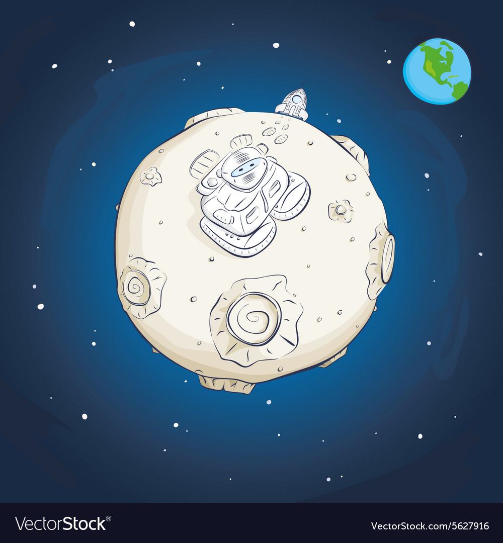 Astronaut on the moon vector image