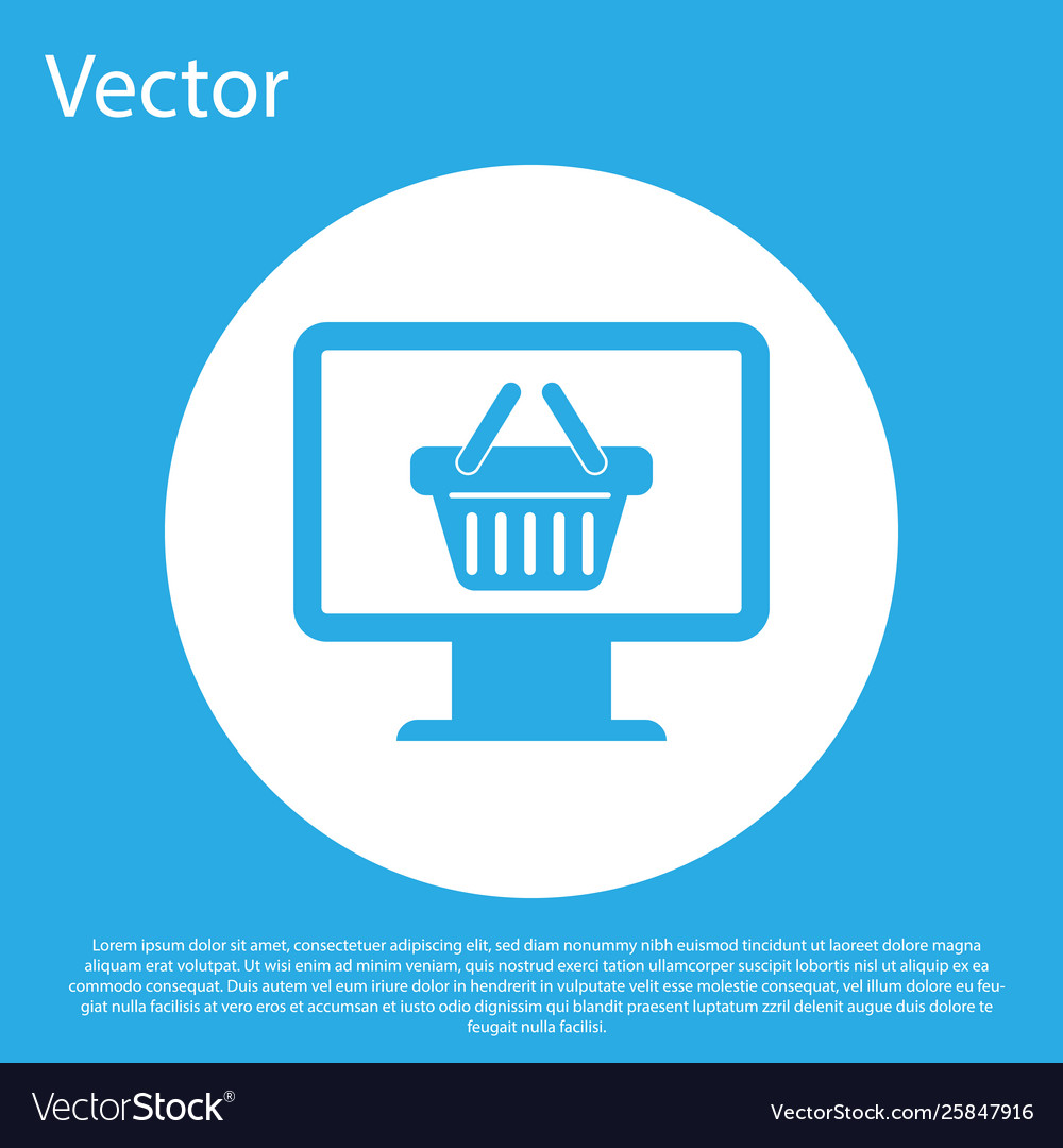 Blue computer monitor with shopping basket icon
