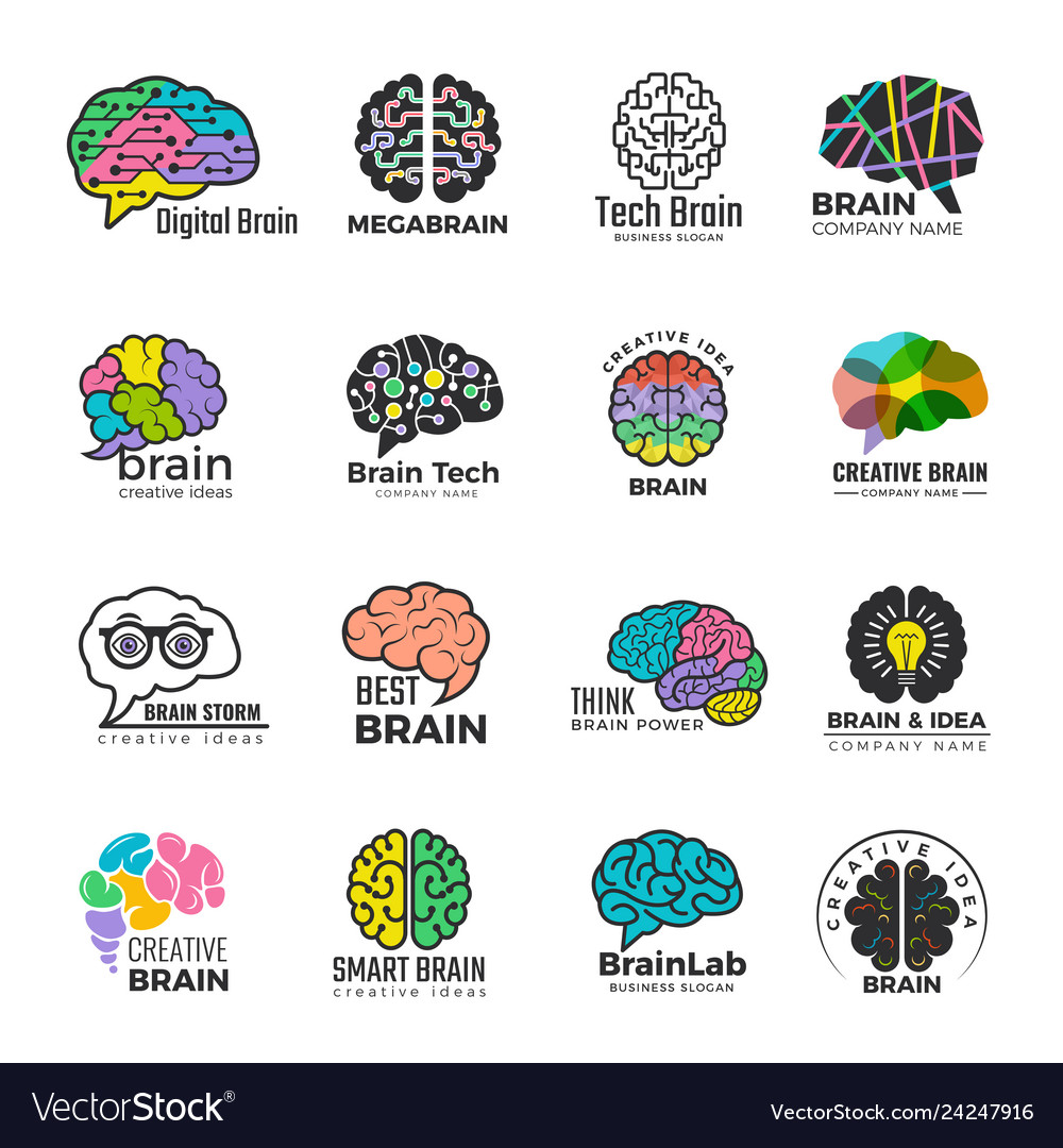 Brain logotypes business concept of colored smart