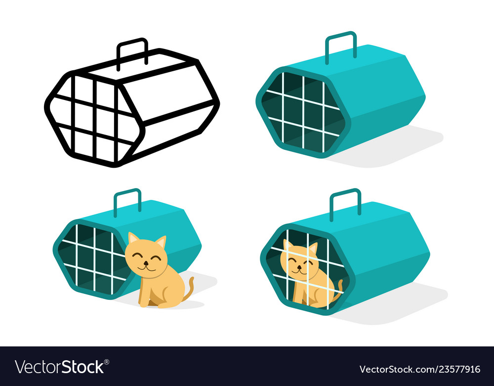 Cat cage icons in flat style art