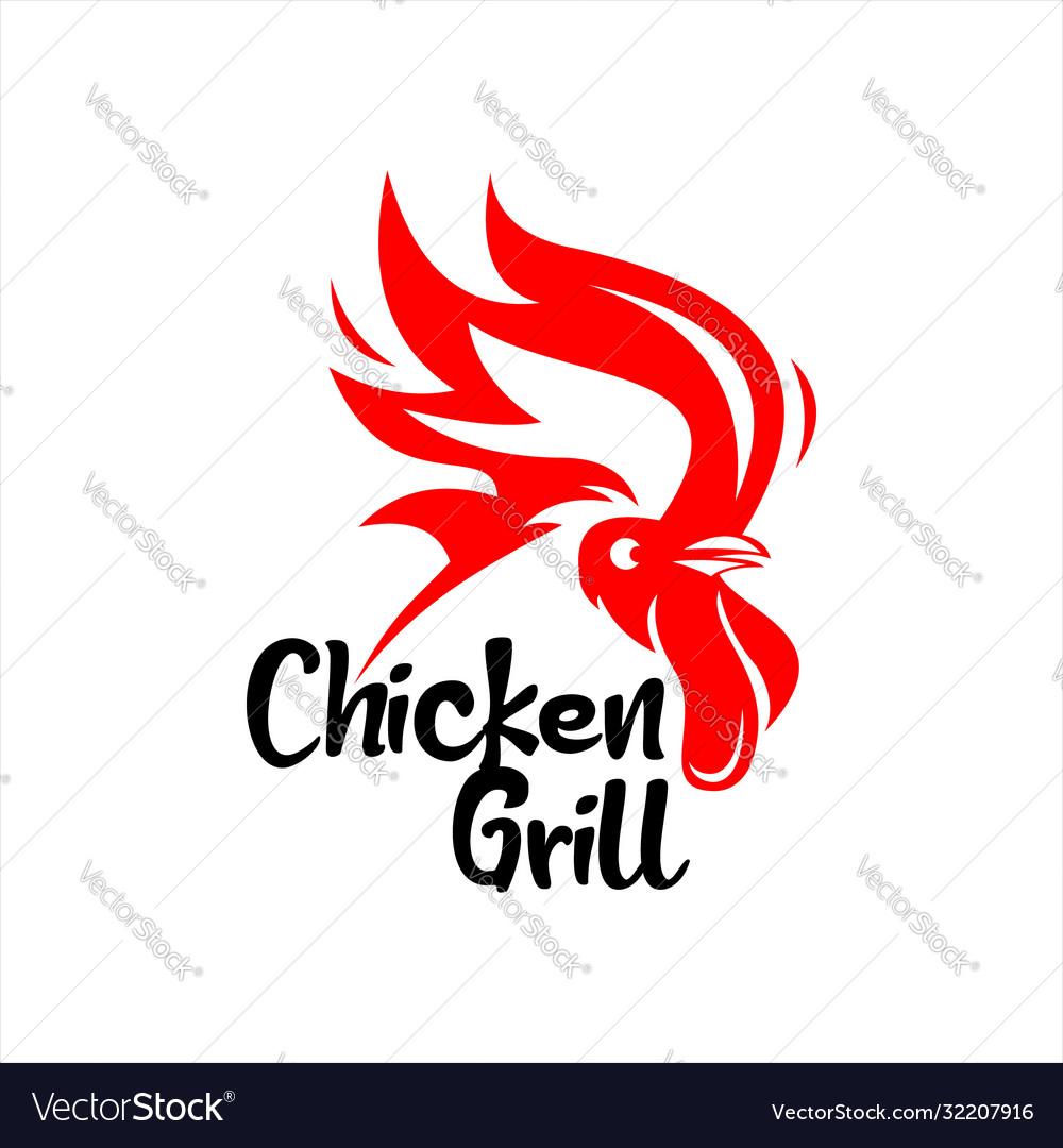 Chicken grill barbecue logo modern bar design