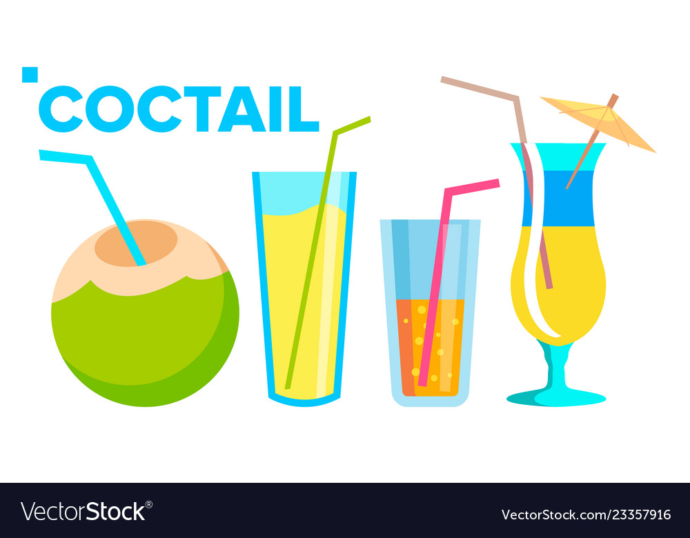 Coctail icons set summer alcoholic drink