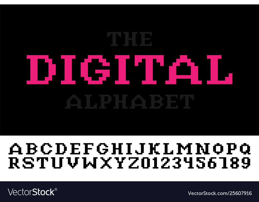 Digital minimalistic pixel font - video game style