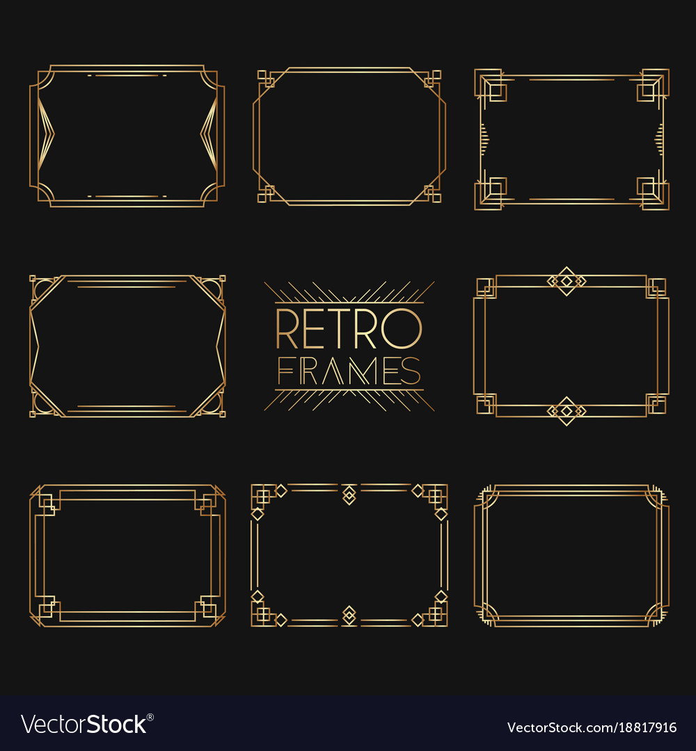 Gold retro frames style of 1920s collection of