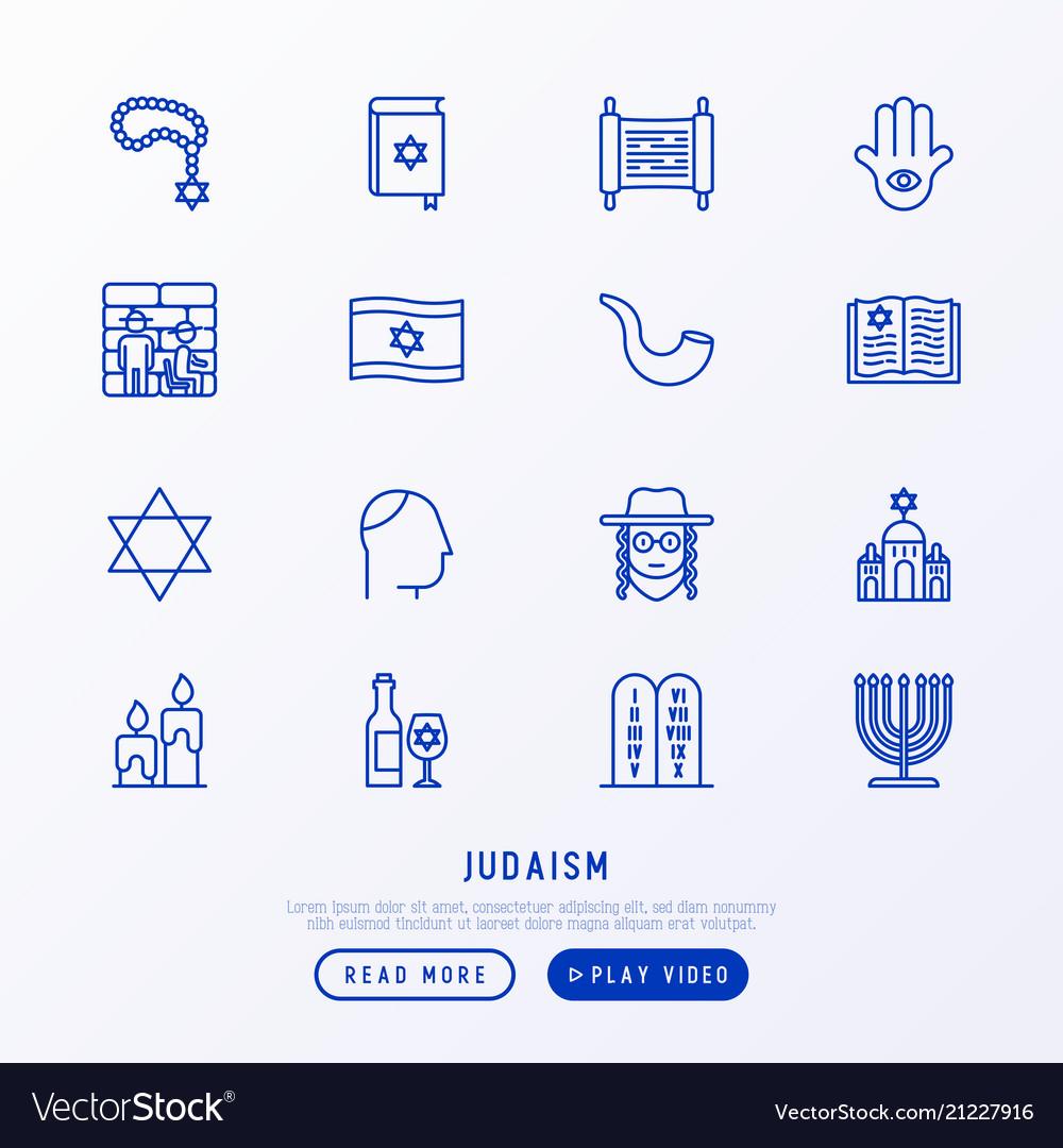 Judaism thin line icons set