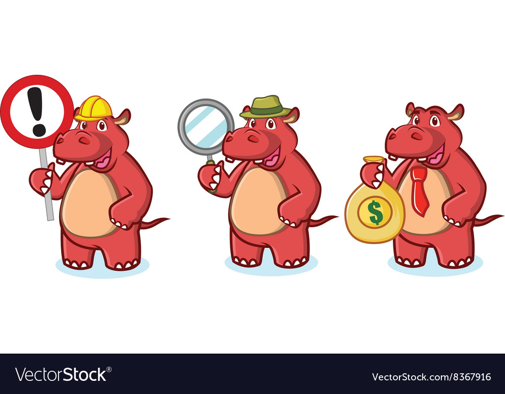 Red Hippo Mascot with money