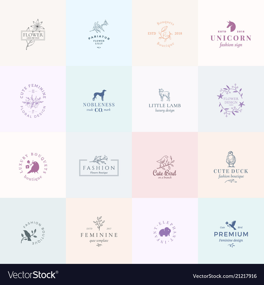 Sixteen abstract feminine signs or logo