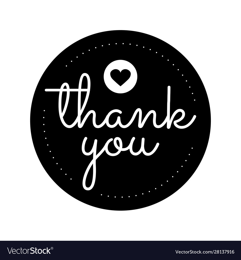 Thank You Round Label Sticker Badgepromotional Vector Image