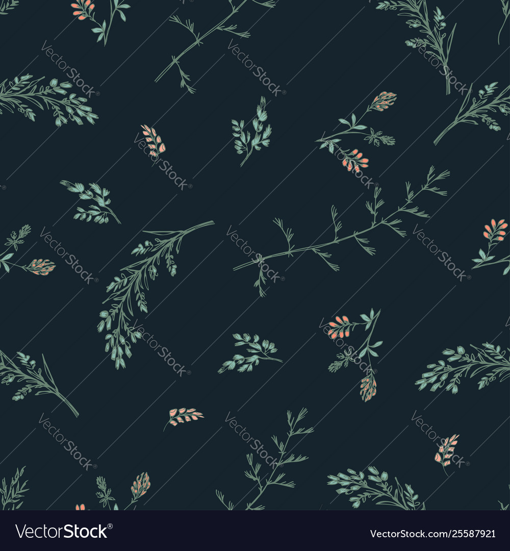 Abstract floral seamless pattern on dark